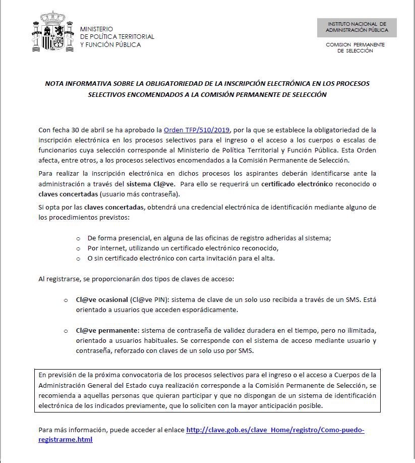 OBLIGATORIEDAD DE LA INSCRIPCIÓN ELECTRÓNICA EN LOS PROCESOS SELECTIVOS